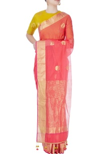 peach-printed-sari-with-yellow-blouse