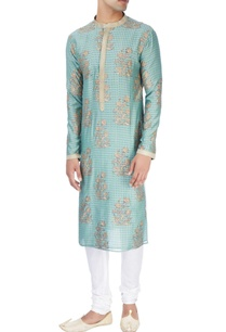 blue-kurta-in-floral-block-print