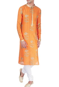 orange-kurta-in-block-print-with-floral-motifs