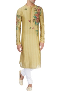 olive-green-kurta-in-floral-design