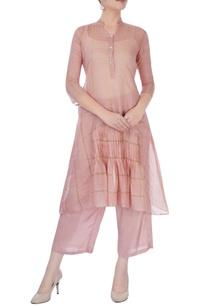 light-pink-striped-kurta-set