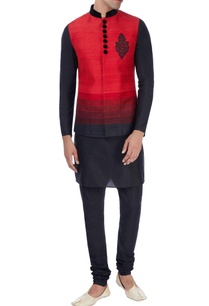 red-black-nehru-jacket-with-kurta-trousers