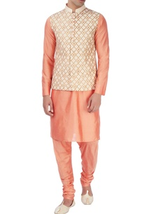 peach-nehru-jacket-with-kurta-pyjamas