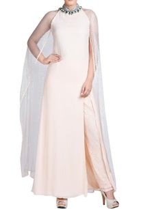 light-peach-maxi-with-attached-cape-pants