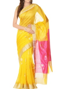 yellow-sari-with-lotus-pattern