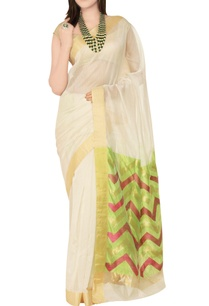 off-white-green-sari-with-chevron-pattern