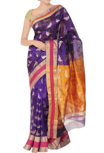 purple-orange-sari-with-parrot-pattern