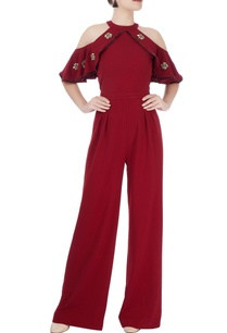 wine-red-cold-shoulder-jumpsuit