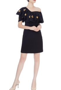 black-off-shoulder-ruffle-dress