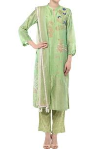 green-badla-work-kurta-set
