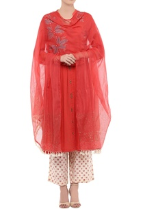 red-embroidered-kurta-with-printed-palazzo-dupatta