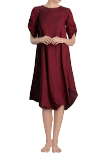 maroon-cowl-dress