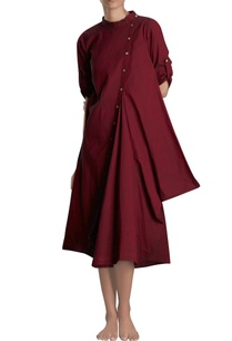 maroon-asymmetric-midi-dress