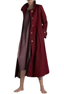 maroon-handloom-trench-jacket