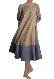 beige-blue-flared-dress