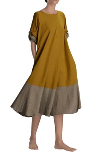 mustard-khaki-flared-dress