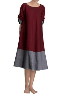 maroon-grey-flared-dress