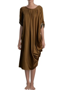 brown-draped-midi-dress