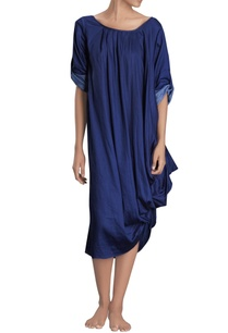 navy-blue-draped-midi-dress