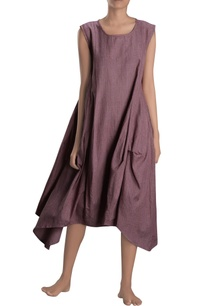burgundy-asymmetric-draped-dress