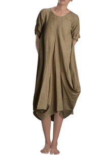khaki-cowl-dress