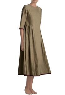 khaki-pleated-midi-dress
