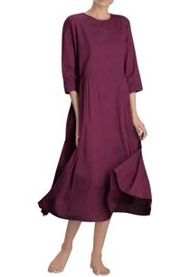 dark-pink-pleated-midi-dress