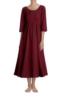 maroon-midi-dress