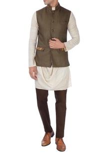 khaki-brown-beige-nehru-jacket-set
