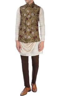 beige-floral-nehru-jacket-set