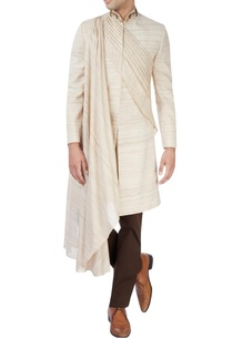 beige-sherwani-set-with-draped-kurta
