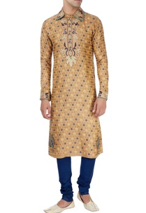 gold-navy-blue-peacock-print-kurta-set