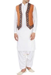 white-kurta-with-blue-orange-waistcoat