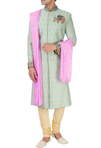 beige-turquoise-sherwani-set