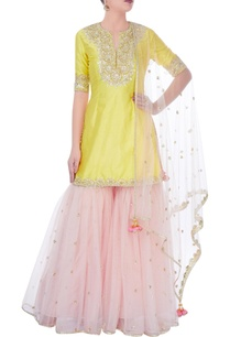 yellow-pink-sharara-set