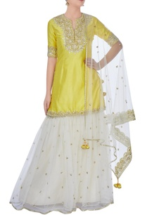 yellow-cream-sharara-set