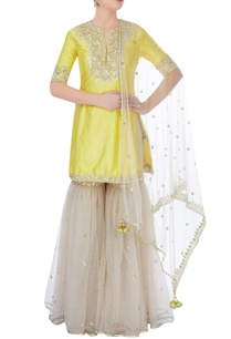 yellow-grey-sharara-set