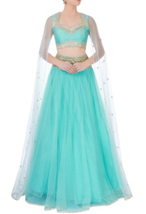 turquoise-blue-gota-embroidered-lehenga
