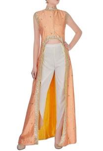 orange-high-low-gota-embroidered-kurta-with-pants