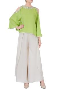 green-cold-shoulder-top-pants