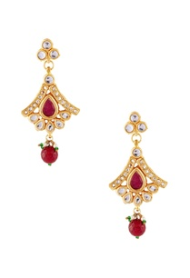 red-white-earrings-with-multicolored-studs