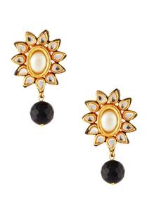 black-white-bead-necklace-earrings
