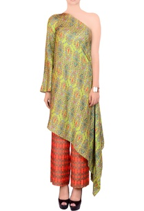 lime-green-orange-printed-kurta-set