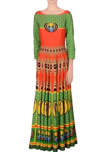 green-orange-printed-kalidar-kurta