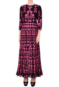 black-pink-printed-kalidar-kurta