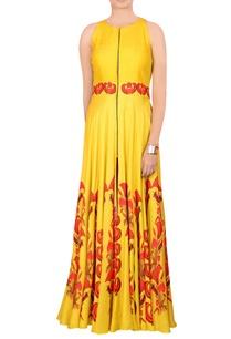 yellow-printed-jacket-maxi-dress