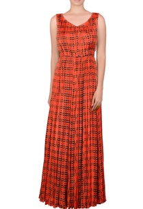 orange-gathered-maxi-dress