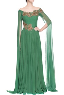 green-off-shoulder-gown