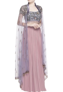 pink-lehenga-with-purple-blouse-cape