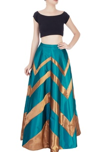 teal-blue-skirt-with-chevron-pattern